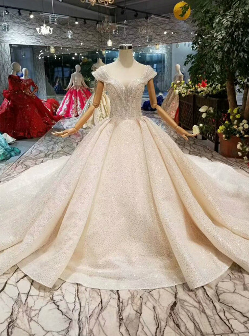 Champagne Ball Gown Tulle Sequins Cap Sleeve Backless Beading Wedding Dress With Long Train