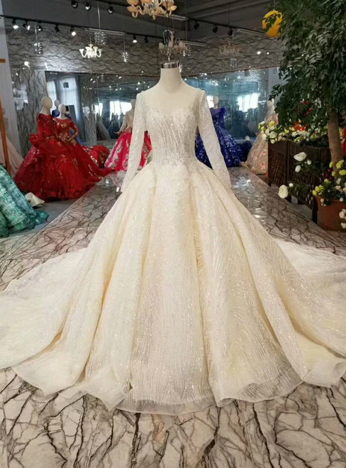 Light Chjampagne Ball Gown Tulle Sequins Square Long Sleeve Backless Wedding Dress With Train