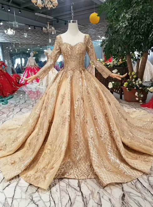 Champagne Gold Lace Square Backless Long Sleeve Beading Wedding Dress With Train