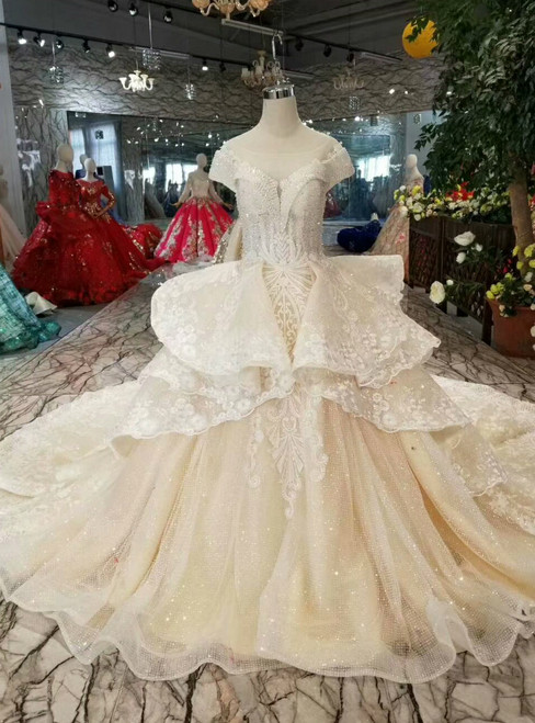 Champagne Ball Gown Tulle Sequins Cap Sleeve Wedding Dress With Train