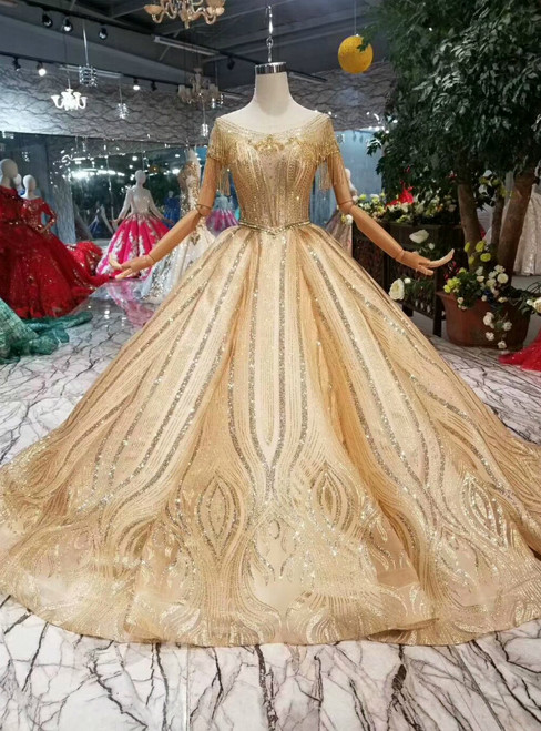 Champagne Gold Ball Gown Tulle Sequins Backless Cap Sleeve Wedding Dress