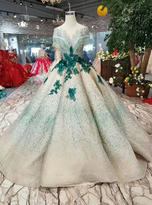 Champagne Ball Gown Tulle Green Sequins Appliques Cap Sleeve Backless Wedding Dress