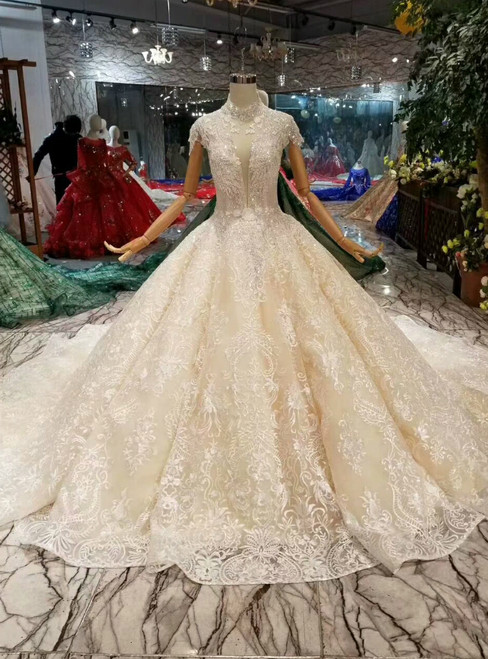Champagne Ball Gown Tulle Lace High Neck Backless Cap Sleeve Wedding Dress