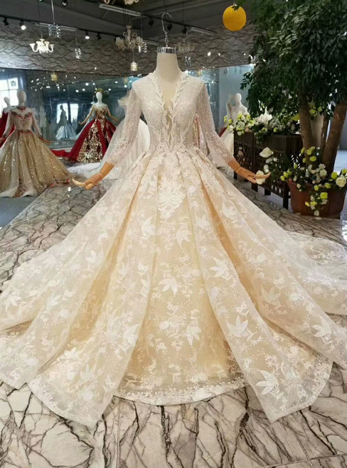 Champage Ball Gown Lace V-neck Long Sleeve Beading Wedding Dress With Train