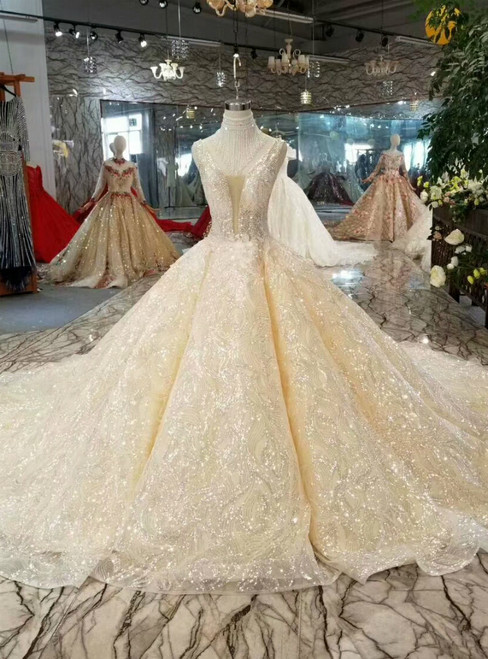 Champagne Ball Gown Tulle Sequins V-neck Backless Beading Wedding Dress