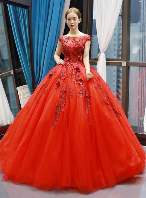 Red Ball Gown Tulle Appliques Bateau Backless Cap Sleeve Floor