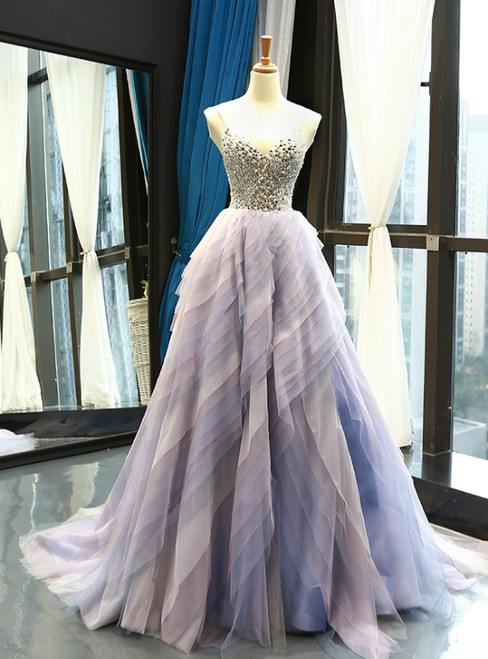 Light Purple Tulle Spaghetti Straps Tulle Backless Crystal Prom Dress