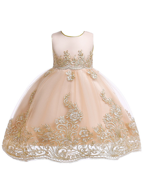 In Stock:Ship in 48 Hours Champagne Tulle Lace Appliques Flower Girl Dress