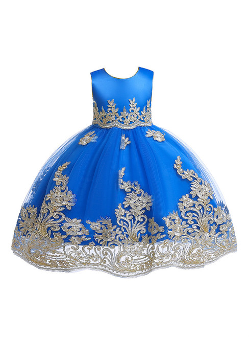 In Stock:Ship in 48 Hours Royal Blue Tulle Lace Appliques Flower Girl Dress With Sash