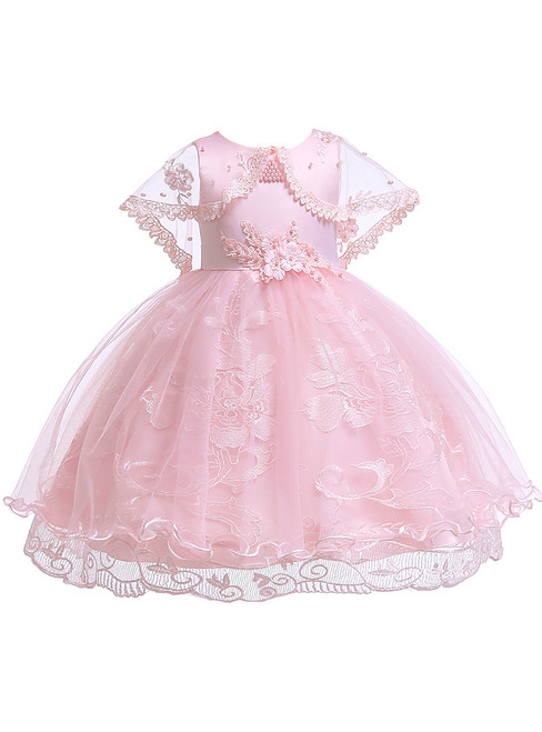 In Stock:Ship in 48 Hours Pink Lace Tulle Girl Dress With Pearls