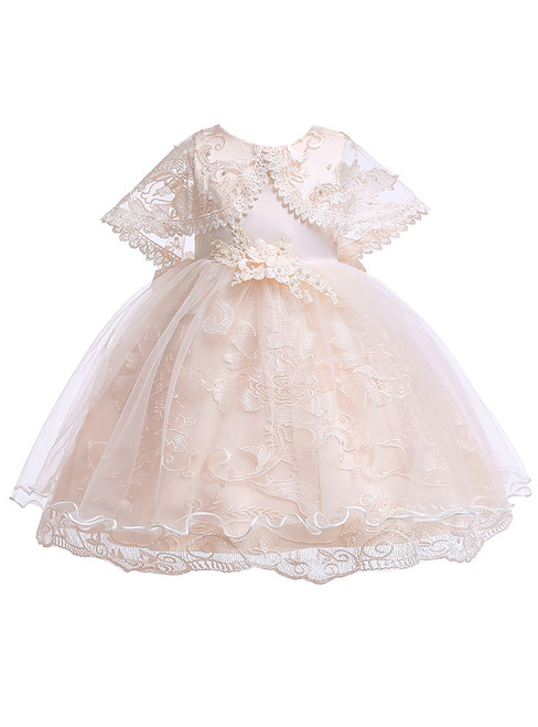 In Stock:Ship in 48 Hours Champagne Lace Tulle Girl Dress With Pearls