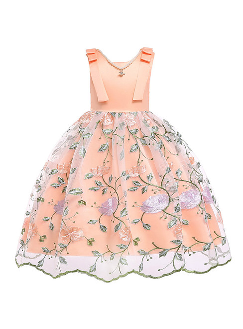 In Stock:Ship in 48 Hours Orange Tulle Embroidery Flower Girl Dress With Pearls