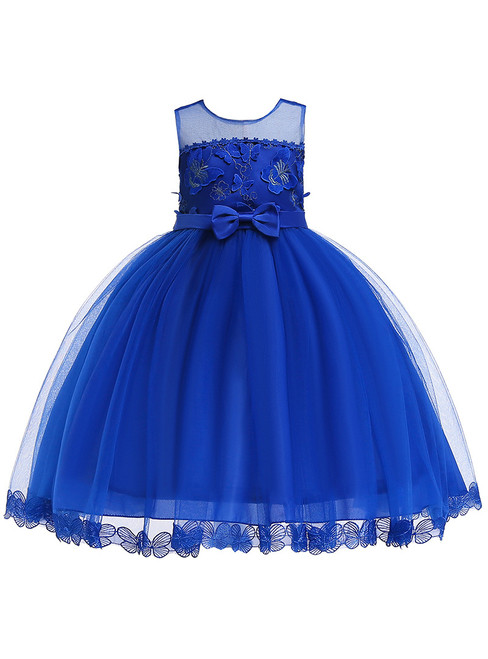 In Stock:Ship in 48 Hours Blue Tulle Appliques Princess Dress With Bow