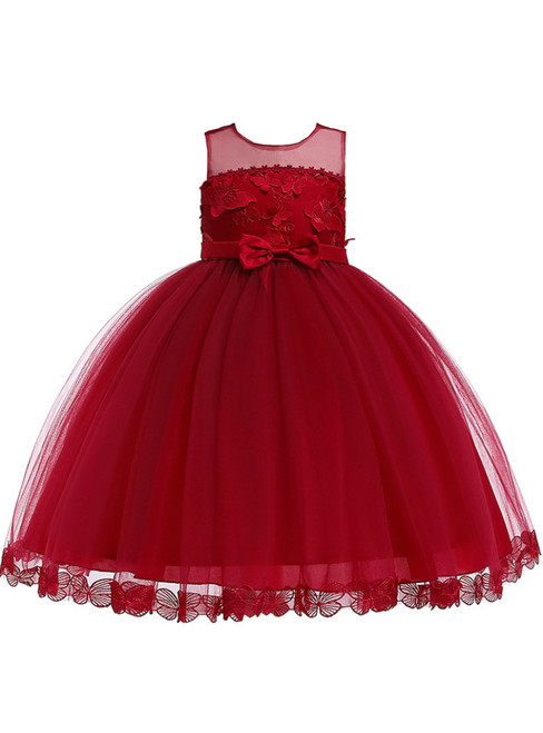 In Stock:Ship in 48 Hours Burgundy Tulle Butterfly Appliques Princess Dress With Bow