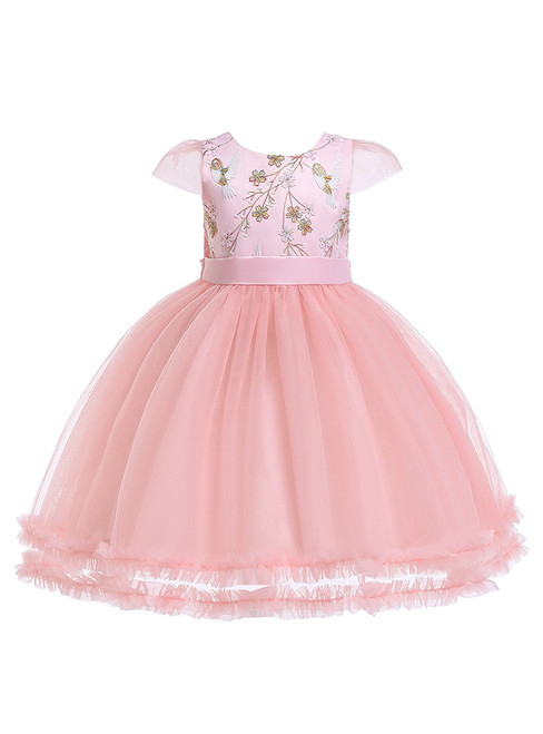 In Stock:Ship in 48 Hours Pink Tulle Embroidery Appliques Flower Girl Dress