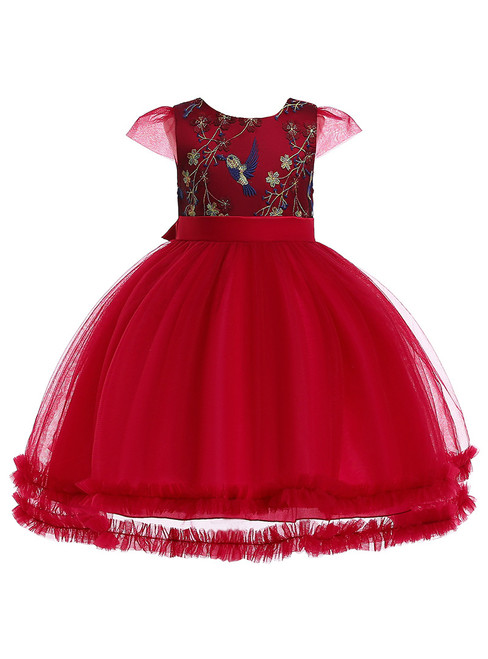 In Stock:Ship in 48 Hours Burgundy Tulle Embroidery Appliques Flower Girl Dress