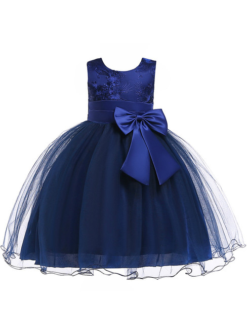 In Stock:Ship in 48 Hour Navy Blue Tulle Flower Girl Dress With Bow
