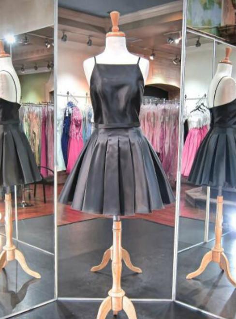 Homecoming dress 2017 Short Black Satin Homecomig Dress