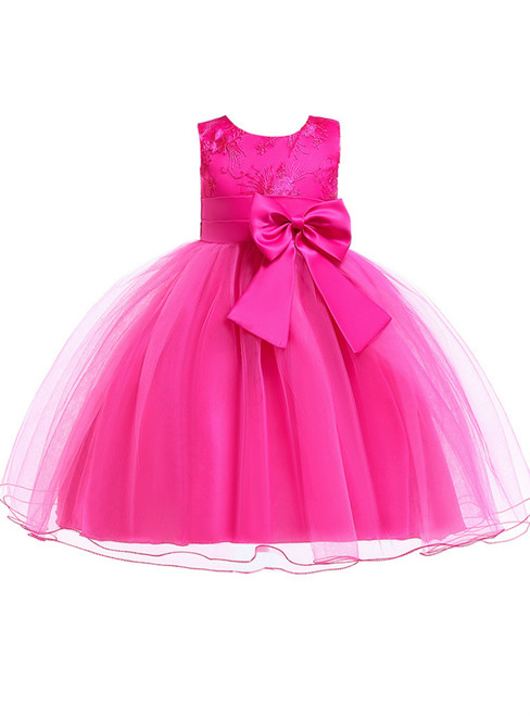 In Stock:Ship in 48 Hour Fuchsia Tulle Flower Girl Dress With Bow
