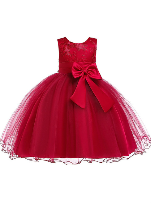 In Stock:Ship in 48 Hour Burgundy Tulle Flower Girl Dress With Bow