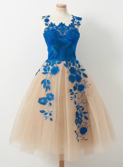 Homecoming dress 2017 Elegant V-neck A-line Blue Appliques Tulle Knee length Homecoming Dresses