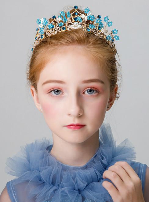 Children's Blue Crown Headdress Accessories Princess Hairband