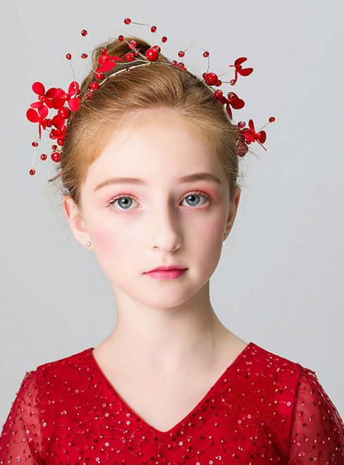 Girl's Red Flower Jewelry Hair Accessories Headband