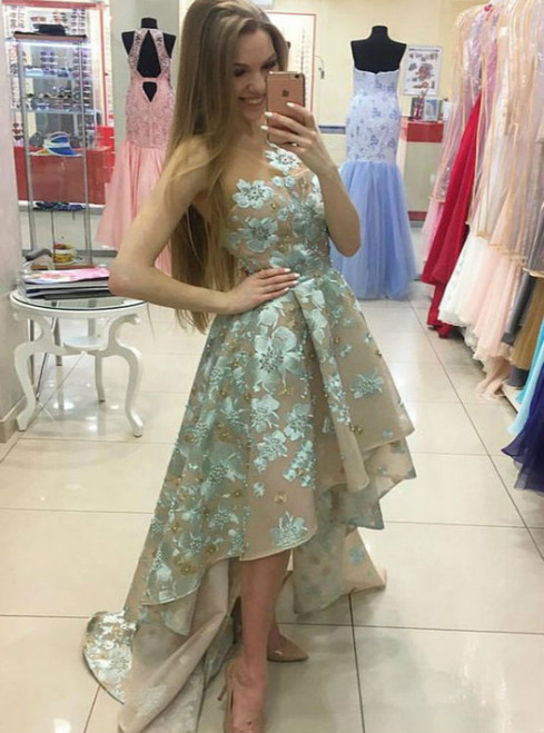 Cute Round Neck Applique High Low Green Prom Dress