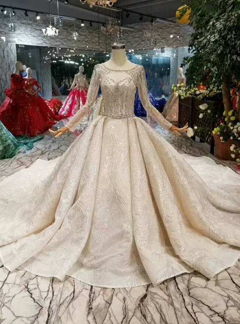 Champagne Ball Gown Tulle Sequins Bateau Long Sleeve Backless Wedding Dress