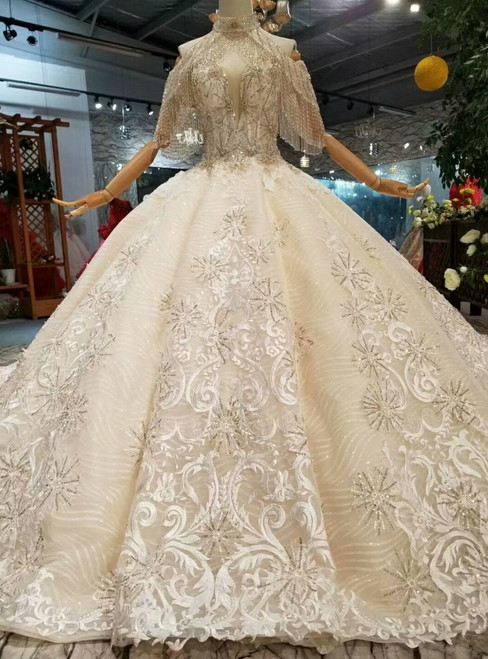Champagne Ball Gown Tulle Lace Appliques Off The Shoulder Wedding Dress With Long Train