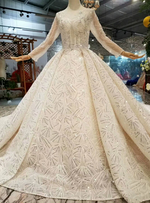 Champagne Ball Gown Tulle Sequins Bateau Long Sleeve Wedding Dress With Beading