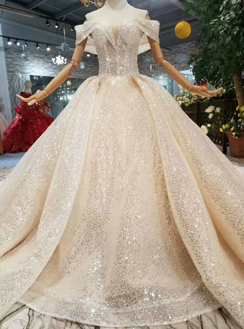 Champagne Ball Gown Tulle Sequins Off The Shoulder Backless Wedding Dress With Train