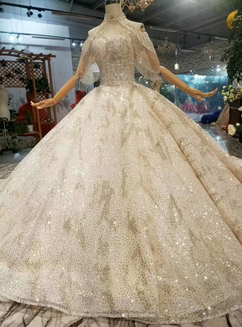 Champagne Ball Gown Tulle Sequins Off The Shoulder Wedding Dress With Long Train