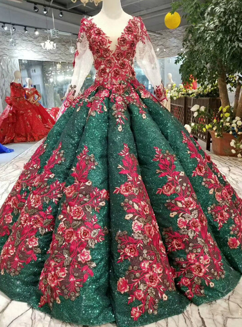 Green Ball Gown Sequins Red Appliques V-neck Long Sleeve Wedding Dress