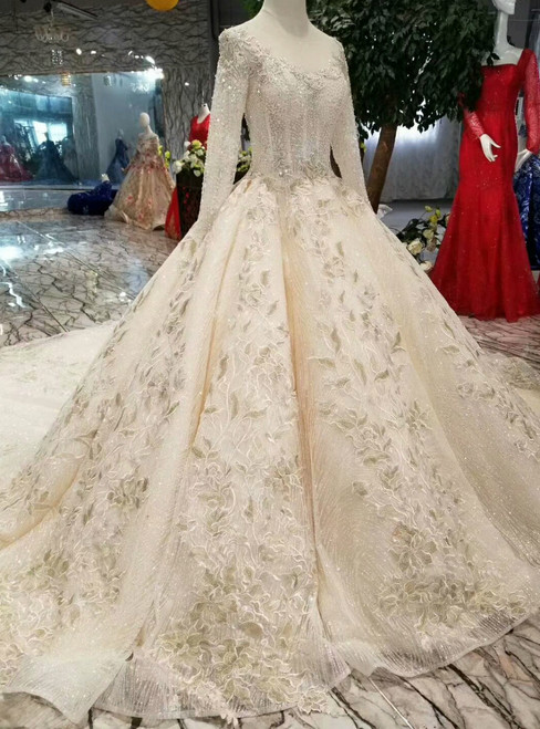 Champagne Ball Gown Tulle Sequins Long Sleeve Appliques Wedding Dress