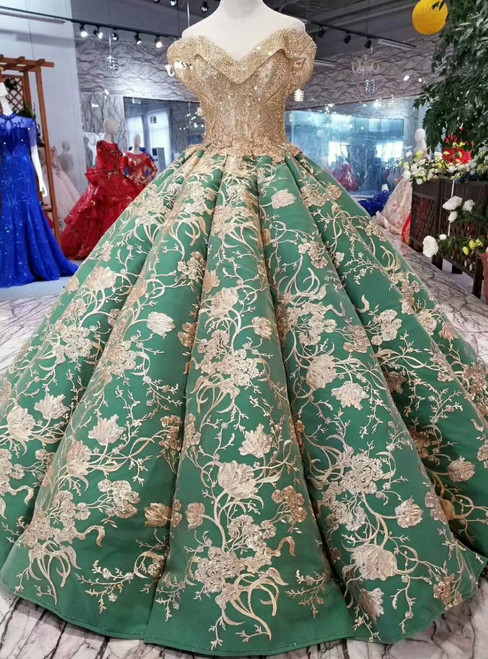 Green Ball Gown Off The Shoulder Champagne Appliques Wedding Dress