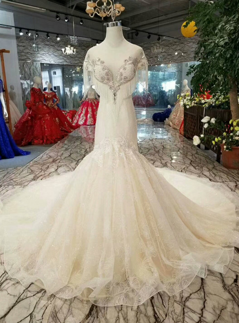 Champagne Tulle Mermaid Cap Sleeve Backless Beading Wedding Dress With Pearls