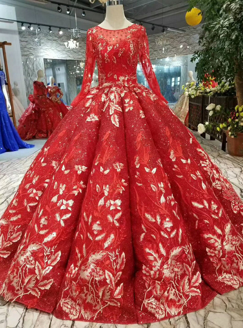 Red Ball Gown Sequins Appliques Long Sleeve Beading Wedding Dress