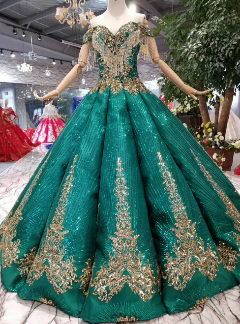 Green Ball Gown Sequins Gold Sequins Appliques Off the Shoulder Wedding Dress With Beading