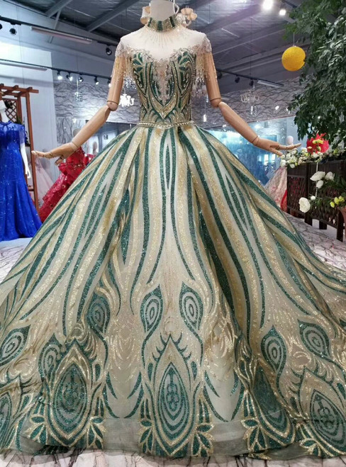 Green And Gold Sequins Ball Gown High Neck Cap Sleeve Backless Wedding Dress With Beading