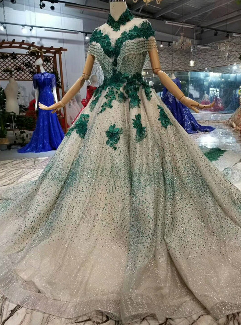 Champagne And Green Ball Gown Tulle Sequins High Neck Cap Sleeve Wedding Dress With Removable Train