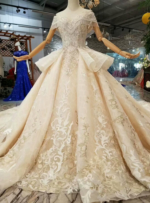 Champagne Ball Gown Lace Appliques Off The Shoulder Wedding Dress With Train