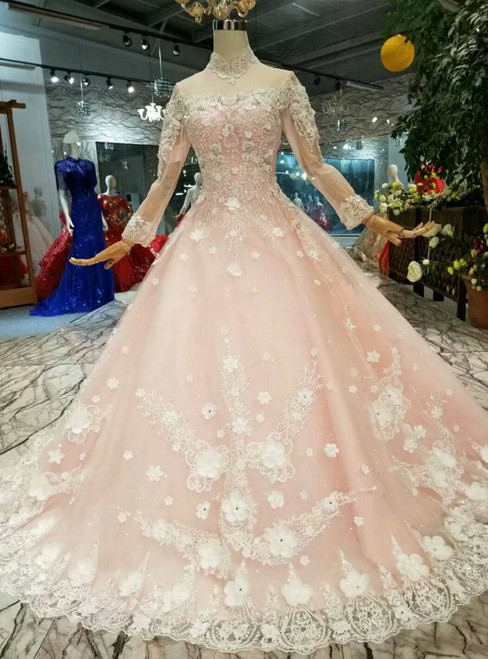 Pink Ball Gown Tulle White Appliques High Neck Long Sleeve Wedding Dress