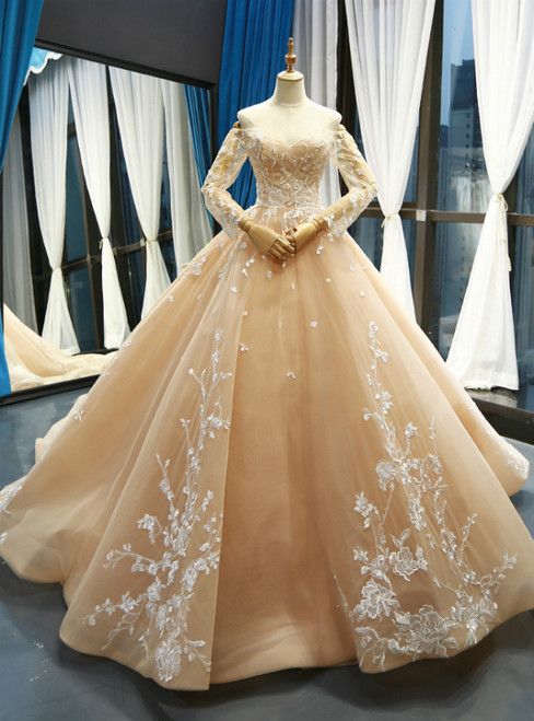 Champagne Ball Gown Tulle Lace Appliques Off The Shoulder Long Sleeve Prom Dress