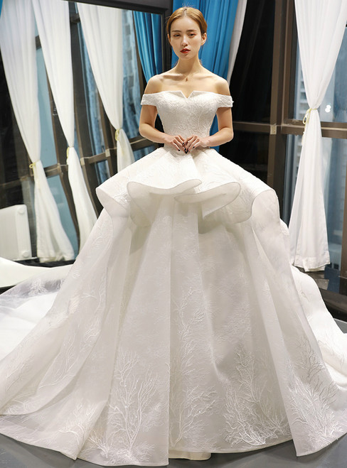 White Ball Gown Lace Off the Shoulder Wedding Dress With Train