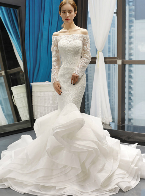 White Mermaid Off The Shoulder Tulle Long Sleeve Lace Appliques Wedding Dress