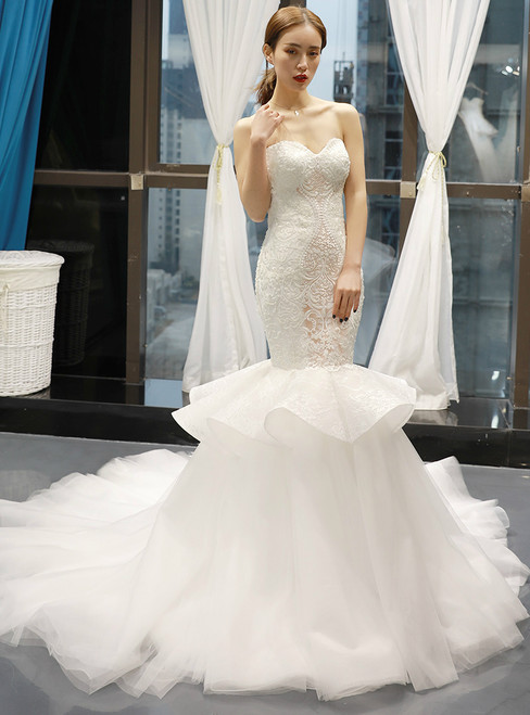 White Mermiad Tulle Lace Appliques Sweetheart Wedding Dress With Removable Train