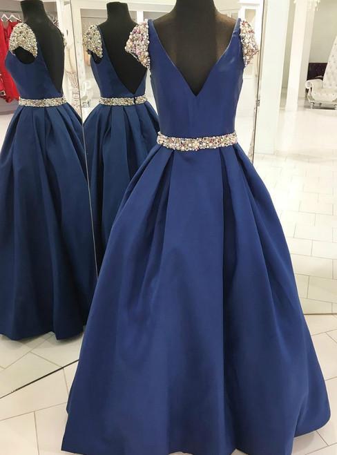 Navy Blue Satin Deep V--neck Backless Cap Sleeve Beading Prom Dress