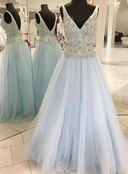 A-Line Light Blue Tulle V-neck Backless With Beading Prom Dress