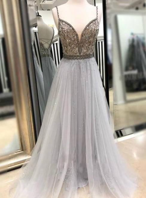 Gray Tulle Spaghetti Straps Backless Beading Sequins Prom Dress